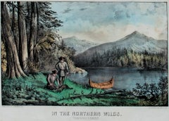 """In the Northern Wilds Trapping Beaver,"" Hand-Colored Litho. by Currier & Ives"