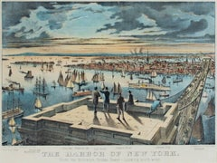 """The Harbor of New York, From the Brooklyn Bridge Looking Southwest,"" lithograph"
