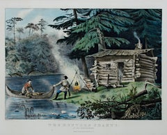 """The Hunter's Shanty in the Adirondacks,"" hand-colored litho. by Currier & Ives"