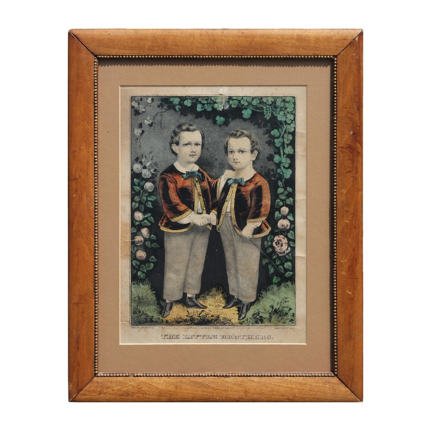 """""""The Little Brothers"""" Early American Hand Painted Lithograph"""