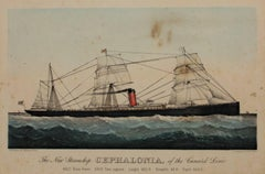 """The New Steamship Cephalonia, of the Cunard Line,"" Lithograph by Currier & Ives"