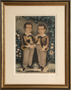 Two Boys, Hand-Colored Lithograph by Currier & Ives