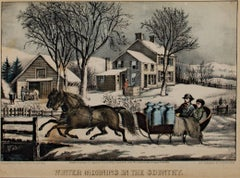 """Winter Morning in the Country,"" Hand-Colored Lithograph by Currier & Ives"