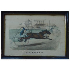 "Currier & Ives ""Distanced"", 1878 Harness Racing Caricature Print"