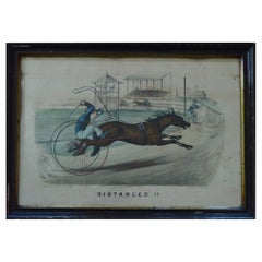 """Currier & Ives """"Distanced"""", 1878 Harness Racing Caricature Print"""