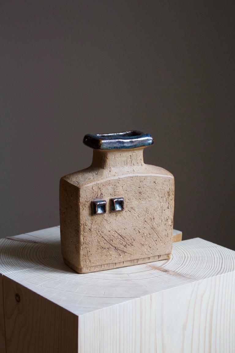Modern Curt Addin, Studio Vase, Semi-Glazed Stoneware, Artists Studio, Sweden, 1970s For Sale
