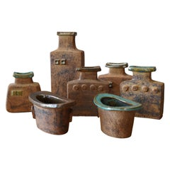 Curt Addin, Studio Vases, Semi-Glazed Stoneware, Artists Studio, Sweden, 1970s
