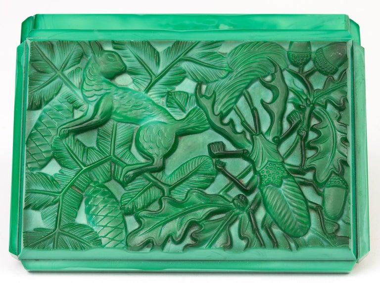 Curt Schlevogt Czech Art Deco Malachite Glass Squirrel & Stag Beetle Lidded Box For Sale 5