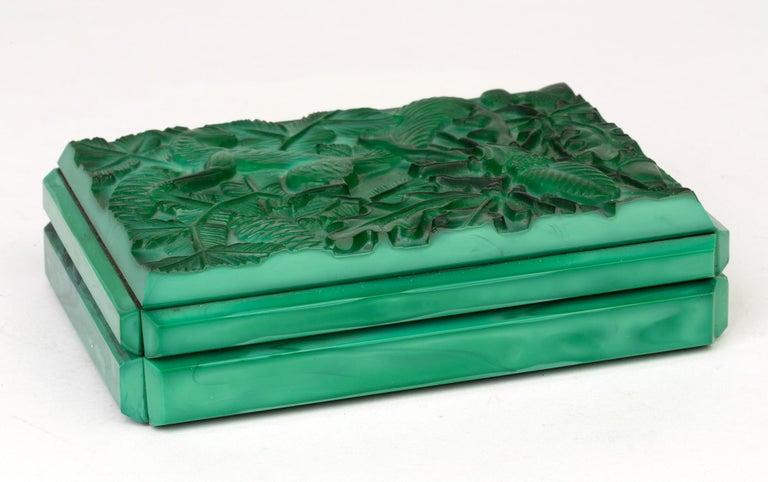 Curt Schlevogt Czech Art Deco Malachite Glass Squirrel & Stag Beetle Lidded Box For Sale 6