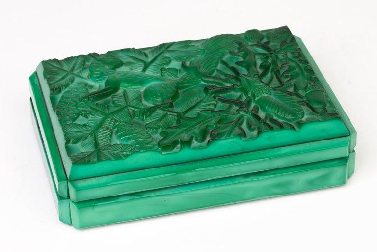 Curt Schlevogt Czech Art Deco Malachite Glass Squirrel & Stag Beetle Lidded Box For Sale 7