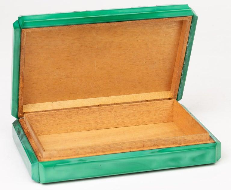 Curt Schlevogt Czech Art Deco Malachite Glass Squirrel & Stag Beetle Lidded Box For Sale 8