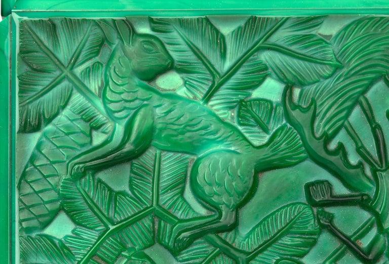 Curt Schlevogt Czech Art Deco Malachite Glass Squirrel & Stag Beetle Lidded Box For Sale 9