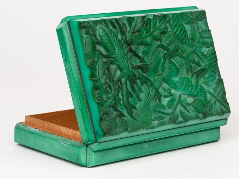 Curt Schlevogt Czech Art Deco Malachite Glass Squirrel & Stag Beetle Lidded Box For Sale 10