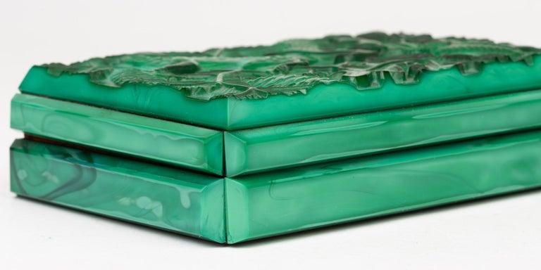 Curt Schlevogt Czech Art Deco Malachite Glass Squirrel & Stag Beetle Lidded Box For Sale 11