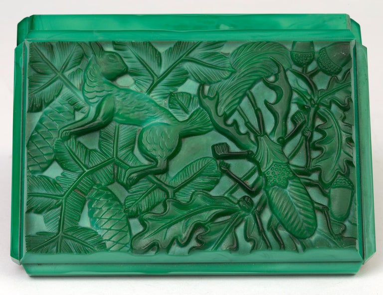 Curt Schlevogt Czech Art Deco Malachite Glass Squirrel & Stag Beetle Lidded Box For Sale 12