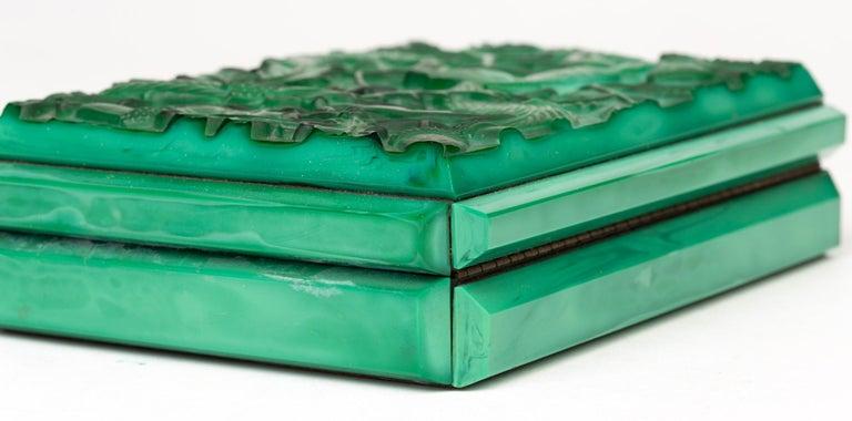 Curt Schlevogt Czech Art Deco Malachite Glass Squirrel & Stag Beetle Lidded Box For Sale 13