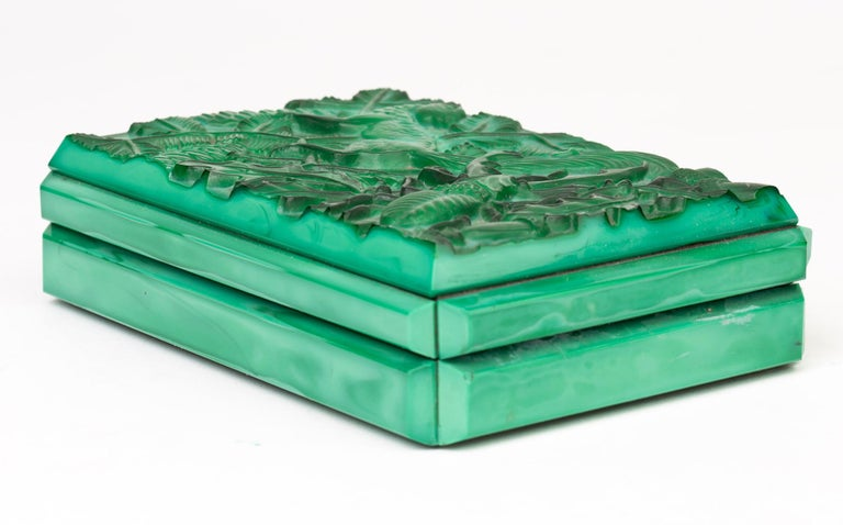 Molded Curt Schlevogt Czech Art Deco Malachite Glass Squirrel & Stag Beetle Lidded Box For Sale
