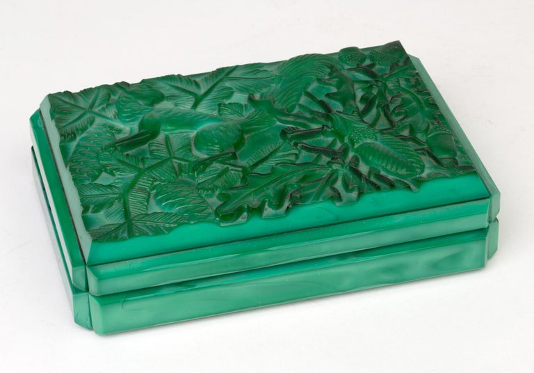 Mid-20th Century Curt Schlevogt Czech Art Deco Malachite Glass Squirrel & Stag Beetle Lidded Box For Sale