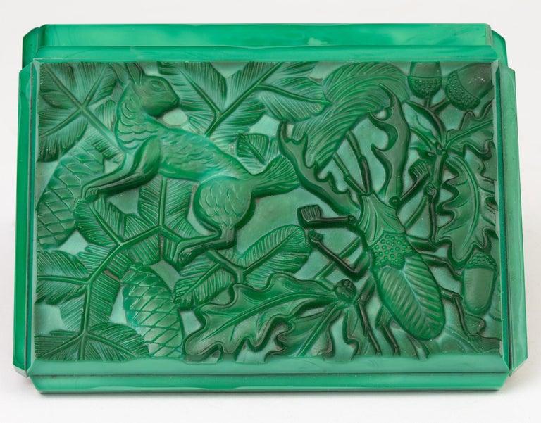 Curt Schlevogt Czech Art Deco Malachite Glass Squirrel & Stag Beetle Lidded Box For Sale 1