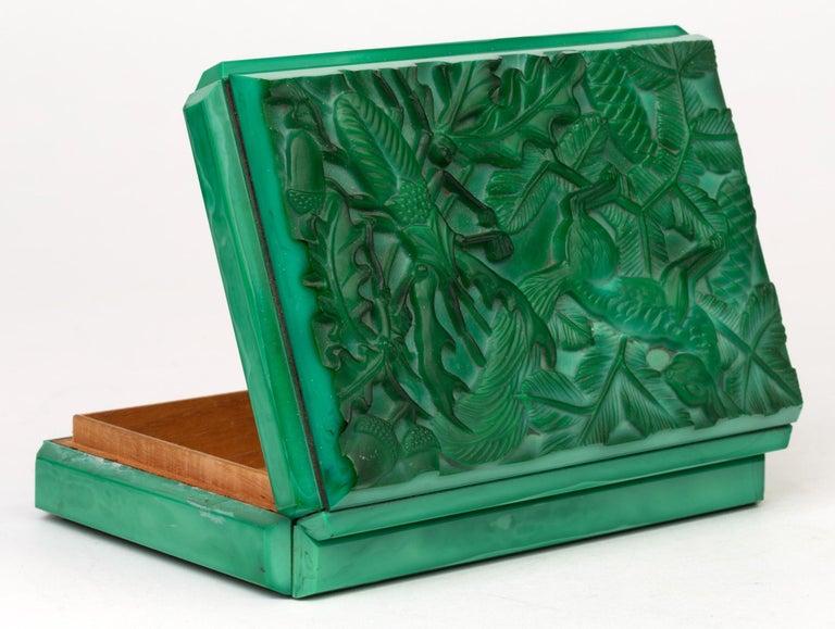 Curt Schlevogt Czech Art Deco Malachite Glass Squirrel & Stag Beetle Lidded Box For Sale 2