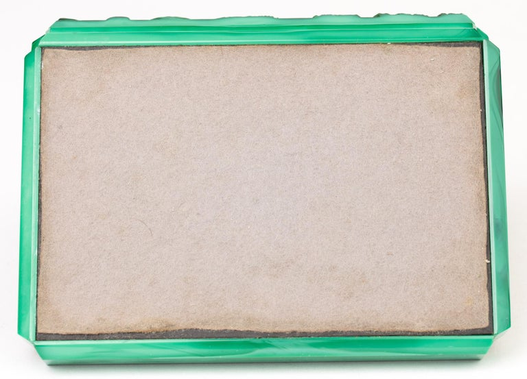 Curt Schlevogt Czech Art Deco Malachite Glass Squirrel & Stag Beetle Lidded Box For Sale 3