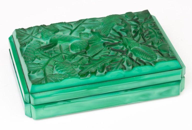 Curt Schlevogt Czech Art Deco Malachite Glass Squirrel & Stag Beetle Lidded Box For Sale 4