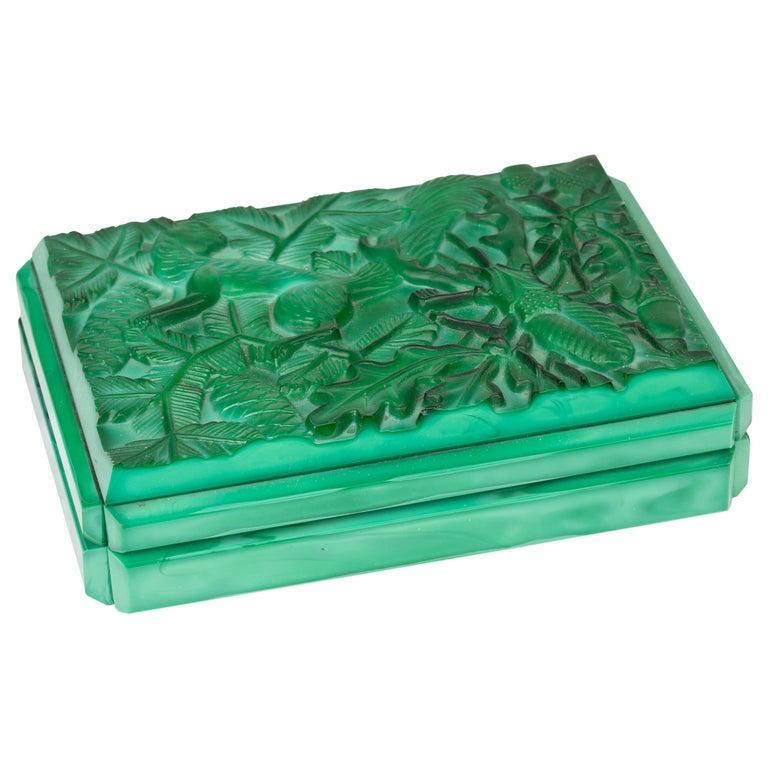 Curt Schlevogt Czech Art Deco Malachite Glass Squirrel & Stag Beetle Lidded Box For Sale