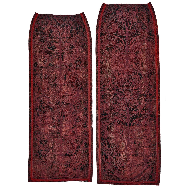 Curtains Set Of 3 Silk Velvet
