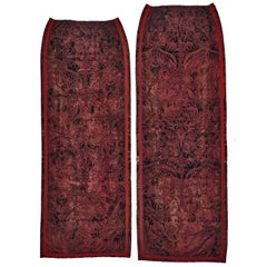 Curtains, Set of 3, Silk Velvet, Charles II-Style, Burgundy Damask Cowdray Park