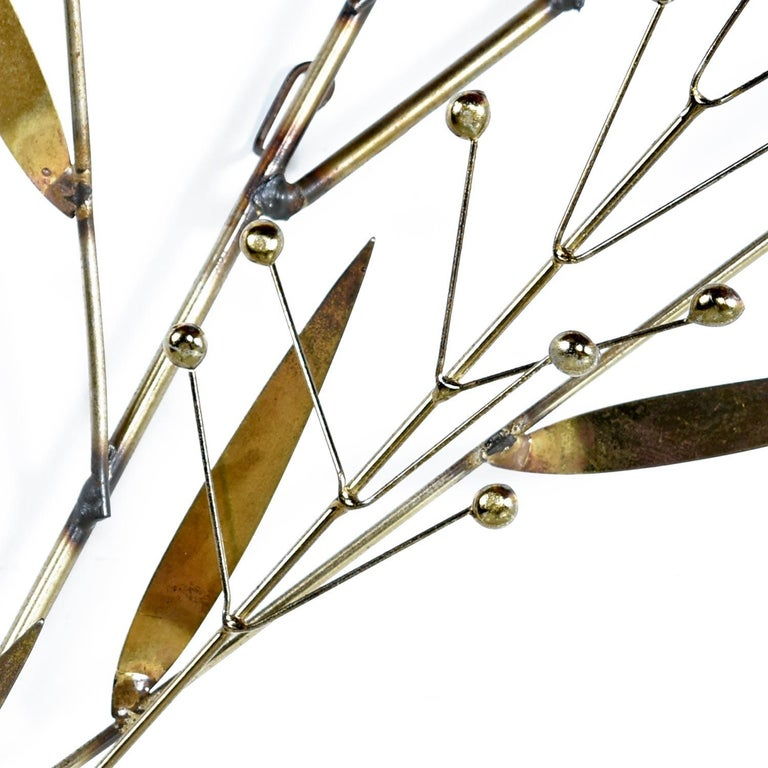 Mid-Century Modern Curtis C. Jere Brass Branch Leaf Berry Sculpture Wall Art, Signed 1979 For Sale