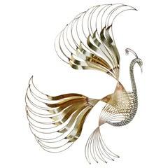 Curtis C. Jere Brass Peacock Bird of Paradise Wall Art Sculpture, 1980s