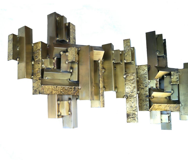 Modern Curtis C. Jere Brutalist Citiscape Metal Large Wall Sculpture Signed For Sale