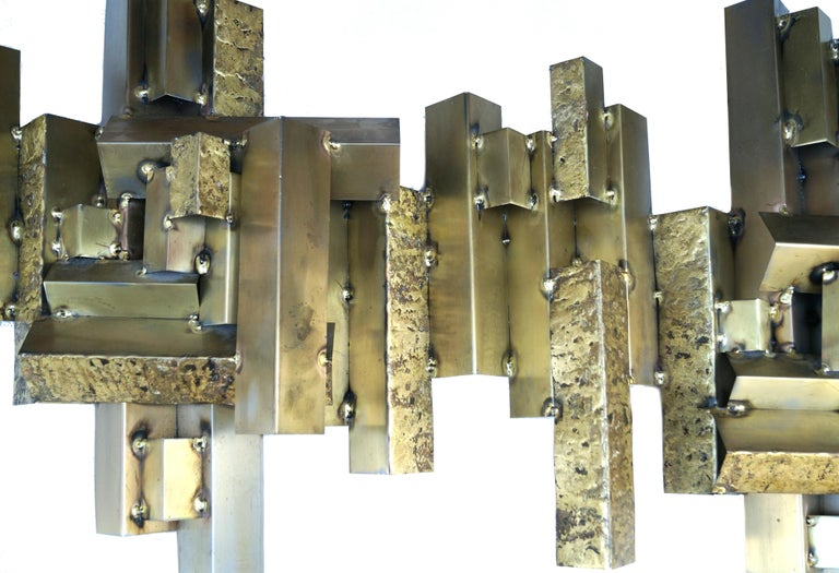 American Curtis C. Jere Brutalist Citiscape Metal Large Wall Sculpture Signed For Sale