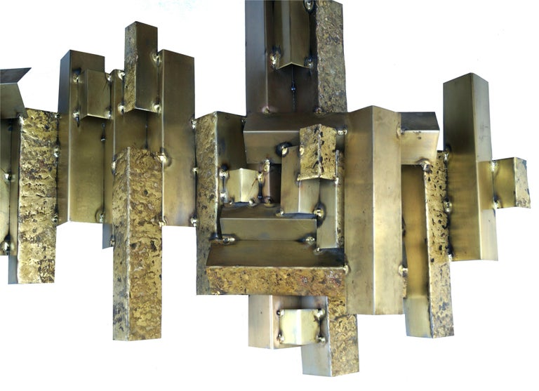 Other Curtis C. Jere Brutalist Citiscape Metal Large Wall Sculpture Signed For Sale