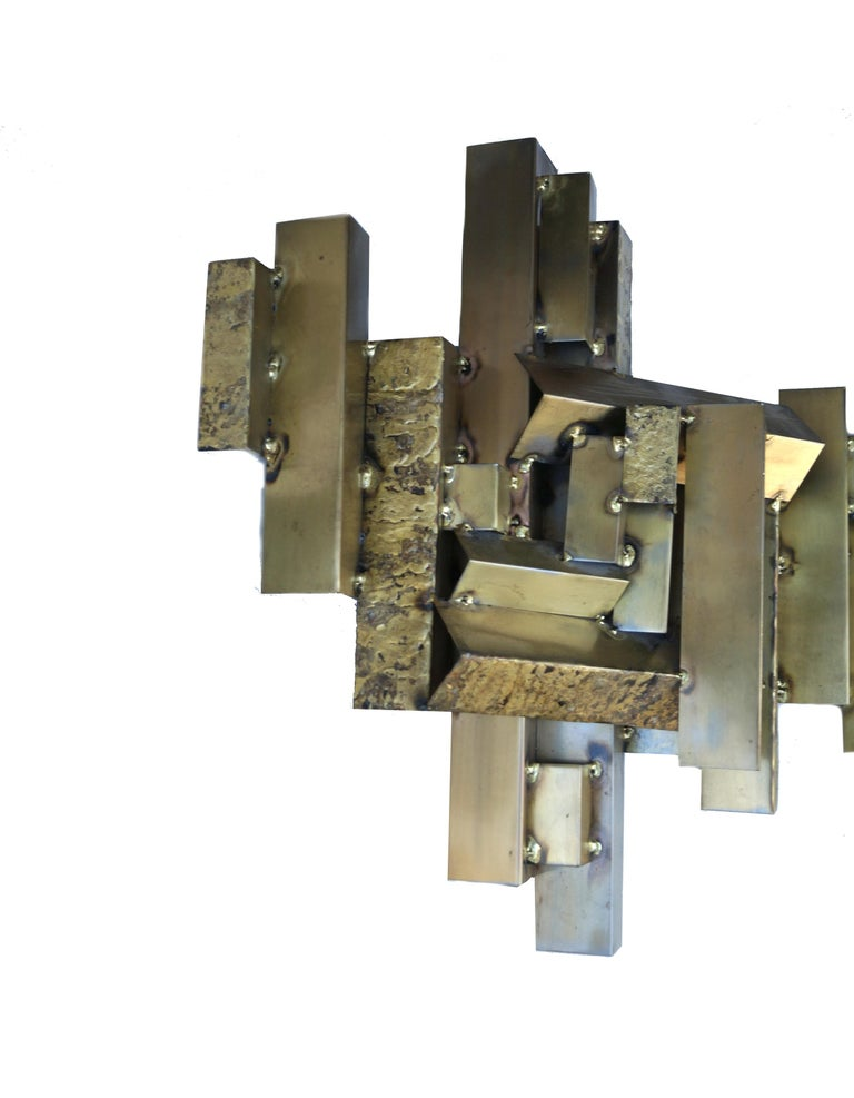 Curtis C. Jere Brutalist Citiscape Metal Large Wall Sculpture Signed In Good Condition For Sale In Wayne, NJ