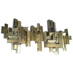 Curtis C. Jere Brutalist Citiscape Metal Large Wall Sculpture Signed