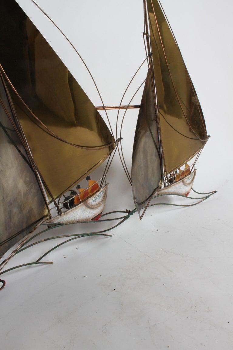Uncommon C. Jere brass sailboats regatta racing wall sculpture