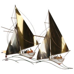 "Curtis Jere 1980s Regatta Racing Sailboats ""Yanks vs Aussies"" Brass Sculpture"