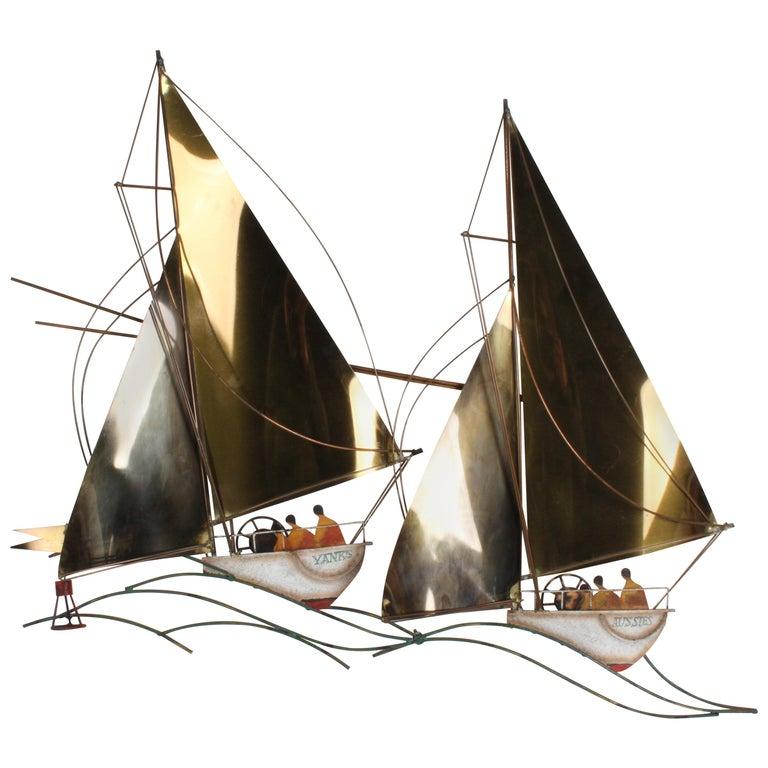 "Curtis Jere 1980s Regatta Racing Sailboats ""Yanks vs Aussies"" Brass Sculpture For Sale"