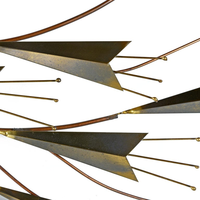 American Curtis Jere Abstract Botanical Brass Metal Wall Sculpture, Signed & Dated, 1985 For Sale