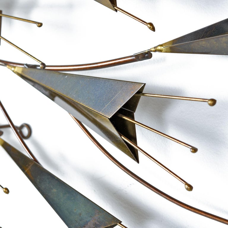 Curtis Jere Abstract Botanical Brass Metal Wall Sculpture, Signed & Dated, 1985 In Excellent Condition For Sale In Saint Petersburg, FL