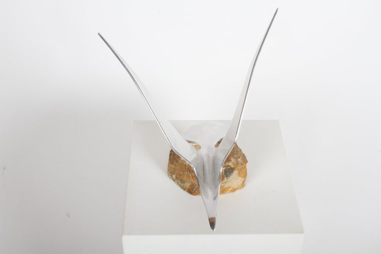 Mid-Century Modern Curtis Jere Aluminum Flying Seagull Table Sculpture on Quartz Rock Base For Sale