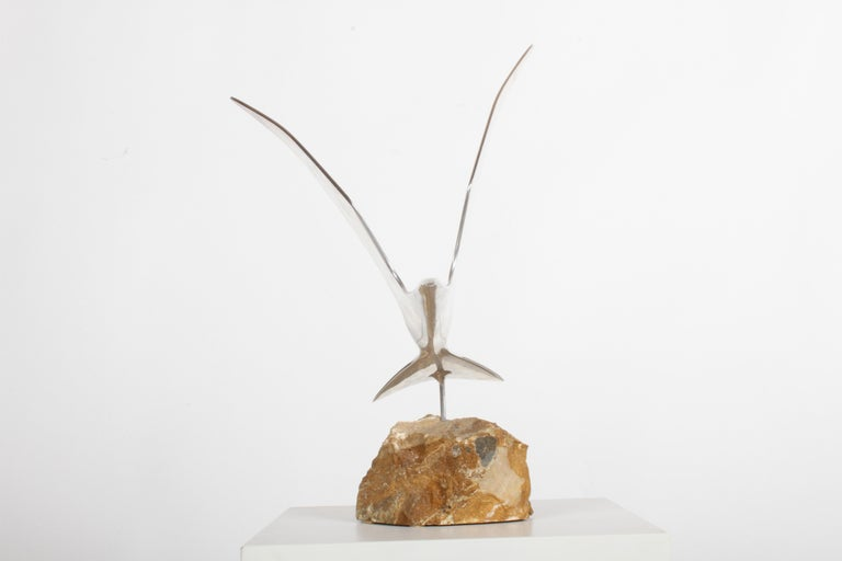 Curtis Jere Aluminum Flying Seagull Table Sculpture on Quartz Rock Base For Sale 1