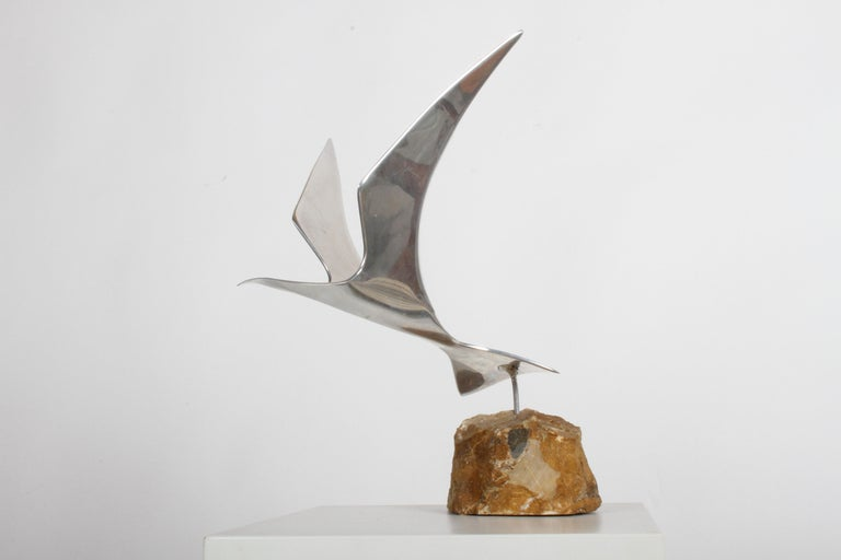 Curtis Jere Aluminum Flying Seagull Table Sculpture on Quartz Rock Base For Sale 2