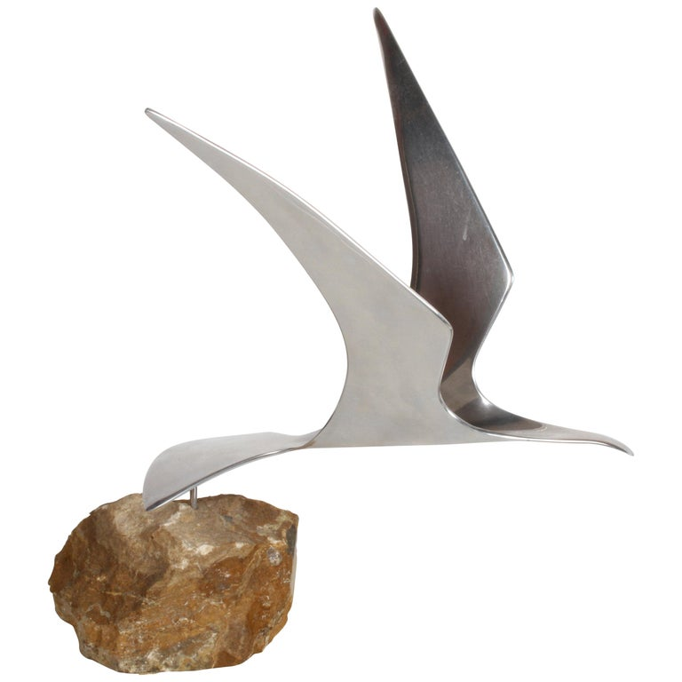 Curtis Jere Aluminum Flying Seagull Table Sculpture on Quartz Rock Base For Sale