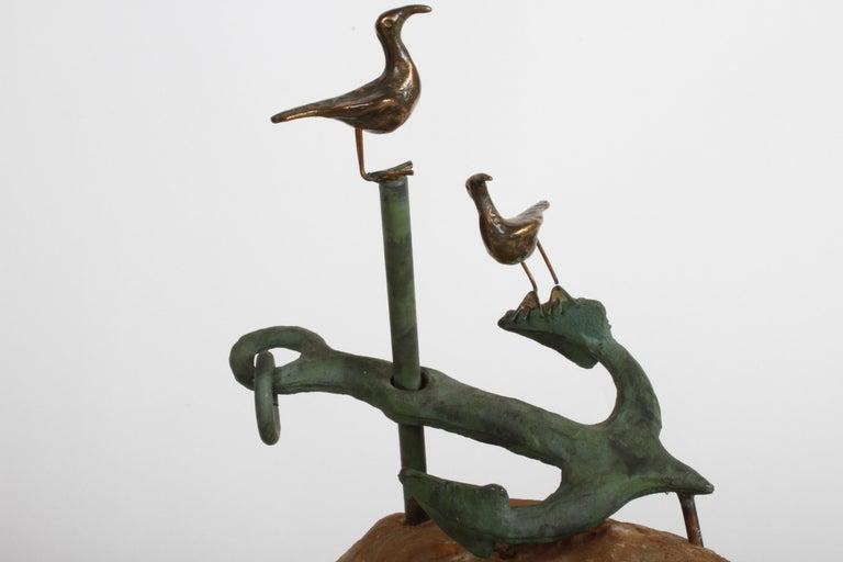 Curtis Jere Anchor Sculpture Faux Bronze on Stone Quartz Base, Signed For Sale 5