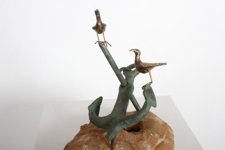 Curtis Jere Anchor Sculpture Faux Bronze on Stone Quartz Base, Signed For Sale 7