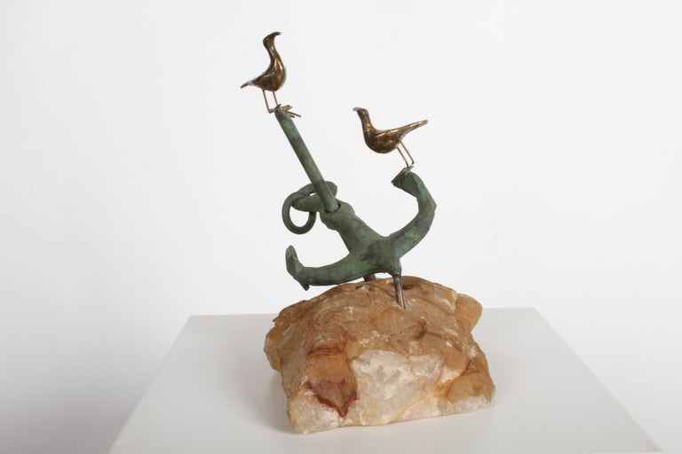 Signed Jere anchor and stone sculpture with seagulls by Curtis Jere, signed on the anchor and dated 1971. Some loss to green paint, one seagull leg loose from foot. Nautical marine sculpture.