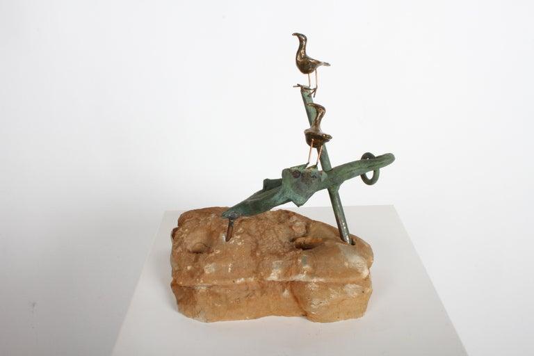 Mid-Century Modern Curtis Jere Anchor Sculpture Faux Bronze on Stone Quartz Base, Signed For Sale