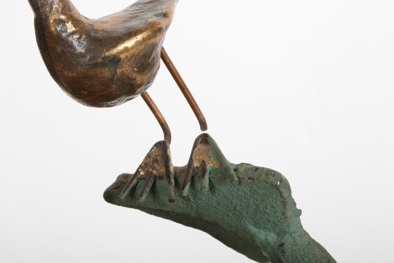 Late 20th Century Curtis Jere Anchor Sculpture Faux Bronze on Stone Quartz Base, Signed For Sale